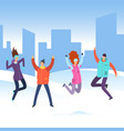 cartoon people in winter clothes on city landscape vector image vector image
