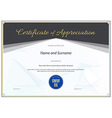 Certificate Appreciation black gold vector image vector image