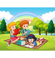 Children reading books in the park vector image vector image