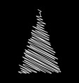 christmas tree scribble design isolated on black vector image vector image