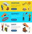 color mountaineering signs 3d banner horizontal vector image vector image