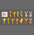 cups medals transparent set vector image