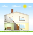 Cut in house interiors and part facade vector image vector image