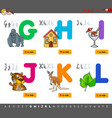 educational cartoon alphabet with animals vector image vector image