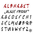 english alphabet black friday vector image