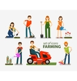 Farming and gardening set of icons People at work vector image