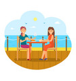 female friends eating out women seaside vector image
