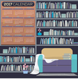 Flat Design Reading Room 2017 Printable Calendar vector image vector image