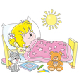 Girl waking up vector image vector image