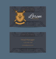 hand drawn heraldics business card for vector image