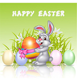 Happy cartoon bunny holding an Easter egg vector image vector image