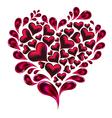 Hearts splash made of hearts and drops vector image