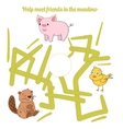 Help meet friends in the meadow child game vector image vector image