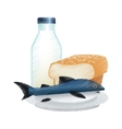 Isolated bread milk and fish design vector image vector image