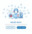 man in headphones listens music from cloud service vector image vector image