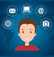 man with social network icons vector image vector image