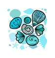 marine background ornate seashells for your vector image vector image