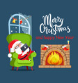 merry christmas claus relax vector image