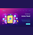 mobile content concept landing page vector image vector image