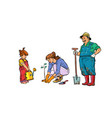 mother daughter and grandfather work vector image vector image