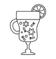 mulled wine glass icon outline style vector image vector image