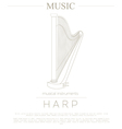 Musical instruments graphic template Harp vector image vector image