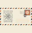 postal envelope on theme travel with stamp vector image vector image