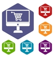 Purchase at online store icons set vector image vector image