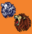 roaring lion set logo cartoon design templa vector image