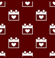 seamless calendar pattern love symbol from icon vector image vector image