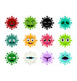 set cancer and virus icon in cartoon art vector image vector image
