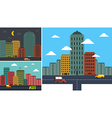 Set cityscapes in any background in flat style