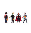 set guys in masks wearing different costumes happy vector image