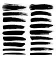 set of brush stroke black ink grunge brush vector image