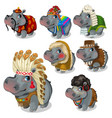 set of seven hippos in different national costumes vector image vector image