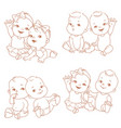 set with cute little twin babies vector image