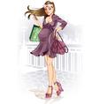 shopping pregnant woman vector image vector image