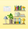 some shelves with utensils vector image