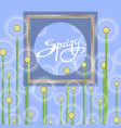 spring dandelion flower pattern with frame and vector image