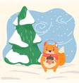 squirrel with acorn nut stand in winter forest vector image
