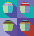 Sweets cards set with cream cakes vector image