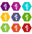three tropical palm trees icon set color vector image vector image