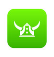 viking helmet icon green vector image