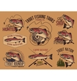 Vintage trout fishing emblems vector image vector image