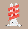White easter rabbit with red ribbon vector image vector image