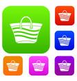 women beach bag set collection vector image vector image