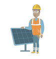 young african-american worker of solar power plant vector image vector image