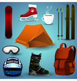 A set of sports equipment for winter sports vector image