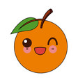 kawaii fruit orange fresh citrus cartoon vector image