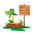 A crocodile beside the empty signages vector image vector image